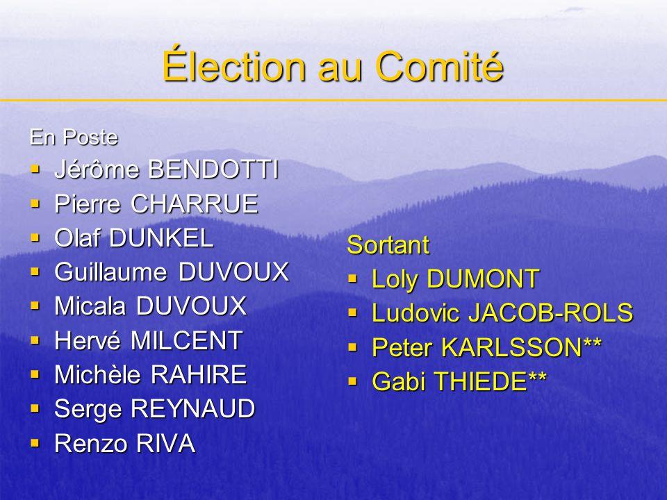 Élection au Comité En Poste Jérôme BENDOTTI Jérôme BENDOTTI Pierre CHARRUE Pierre CHARRUE Olaf DUNKEL Olaf DUNKEL Guillaume DUVOUX Guillaume DUVOUX Mi