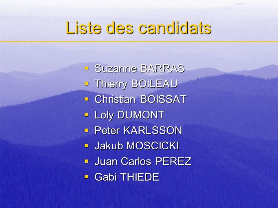 Liste des candidats Suzanne BARRAS Suzanne BARRAS Thierry BOILEAU Thierry BOILEAU Christian BOISSAT Christian BOISSAT Loly DUMONT Loly DUMONT Peter KA