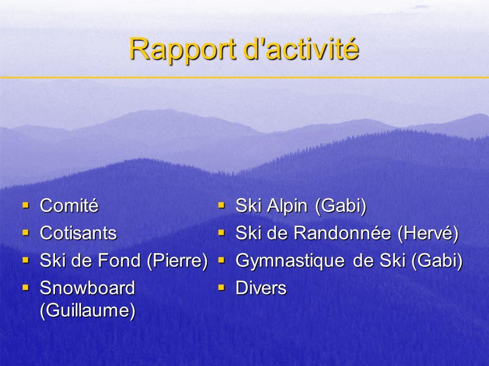 Rapport d'activité Comité Comité Cotisants Cotisants Ski de Fond (Pierre) Ski de Fond (Pierre) Snowboard (Guillaume) Snowboard (Guillaume) Ski Alpin (