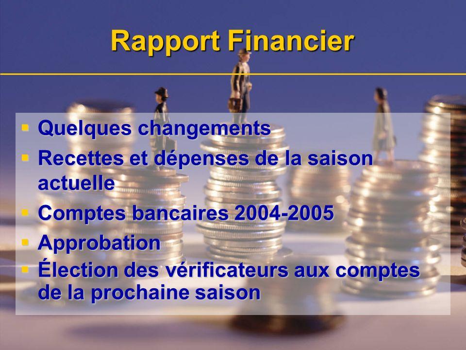 Rapport Financier Quelques changements Quelques changements Recettes et dépenses de la saison actuelle Recettes et dépenses de la saison actuelle Comp