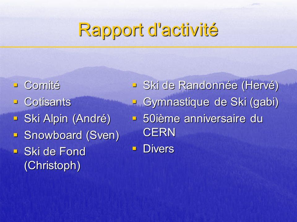 Quelques changements Objectif: Objectif: Reduction du deficit de la saison dernière (-7.127 CHF) Moyens: Moyens: –Cotisation Adulte: 10 CHF -> 12 CHF Enfant: 4 CHF -> 5 CHF + 4,87 % de cotisations perçues (malgré -10,63 % de membres) –Prix Ski alpin & Surf: +4,8% Rando: +15% –Taux de change 2003/4: 1 Euro = 1,5 CHF 2004/5: 1 Euro = 1,6 CHF