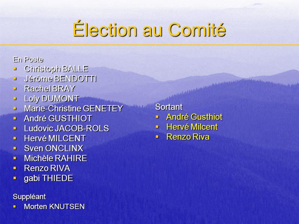 Élection au Comité En Poste Christoph BALLE Christoph BALLE Jérôme BENDOTTI Jérôme BENDOTTI Rachel BRAY Rachel BRAY Loly DUMONT Loly DUMONT Marie-Chri