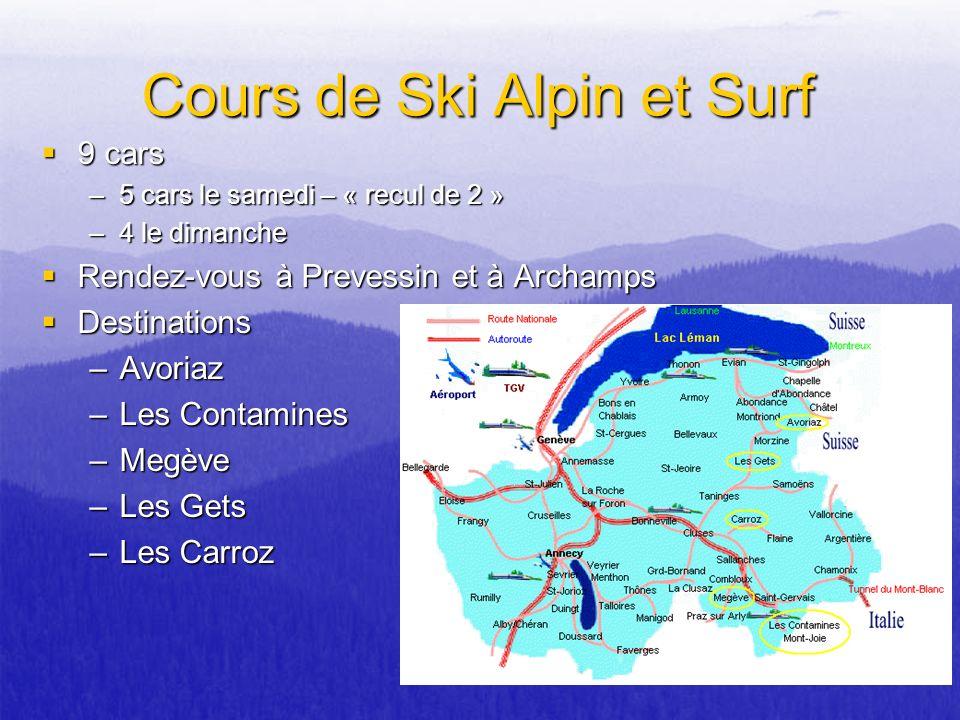 Cours de Ski Alpin et Surf 9 cars 9 cars –5 cars le samedi – « recul de 2 » –4 le dimanche Rendez-vous à Prevessin et à Archamps Rendez-vous à Prevess