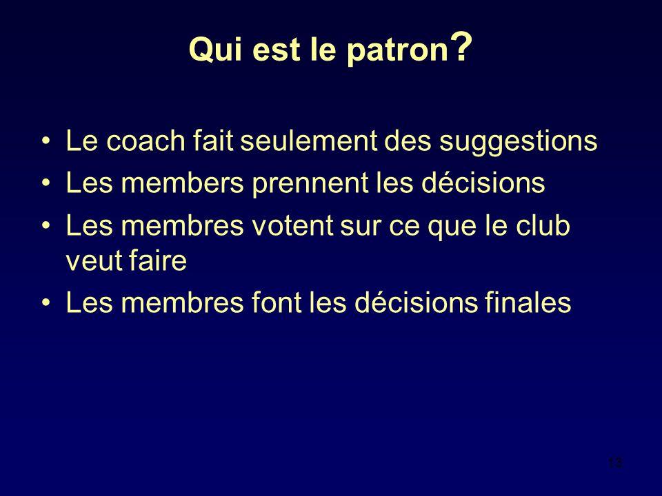 13 Qui est le patron ? Le coach fait seulement des suggestions Les members prennent les décisions Les membres votent sur ce que le club veut faire Les