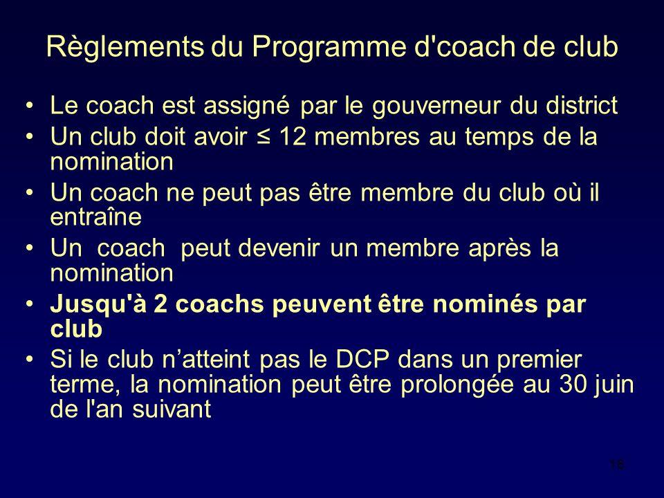 16 Règlements du Programme d'coach de club Le coach est assigné par le gouverneur du district Un club doit avoir 12 membres au temps de la nomination