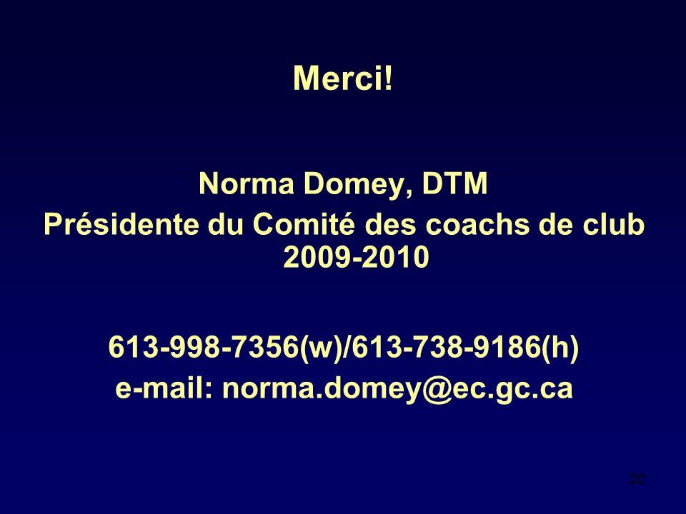 20 Merci! Norma Domey, DTM Présidente du Comité des coachs de club 2009-2010 613-998-7356(w)/613-738-9186(h) e-mail: norma.domey@ec.gc.ca