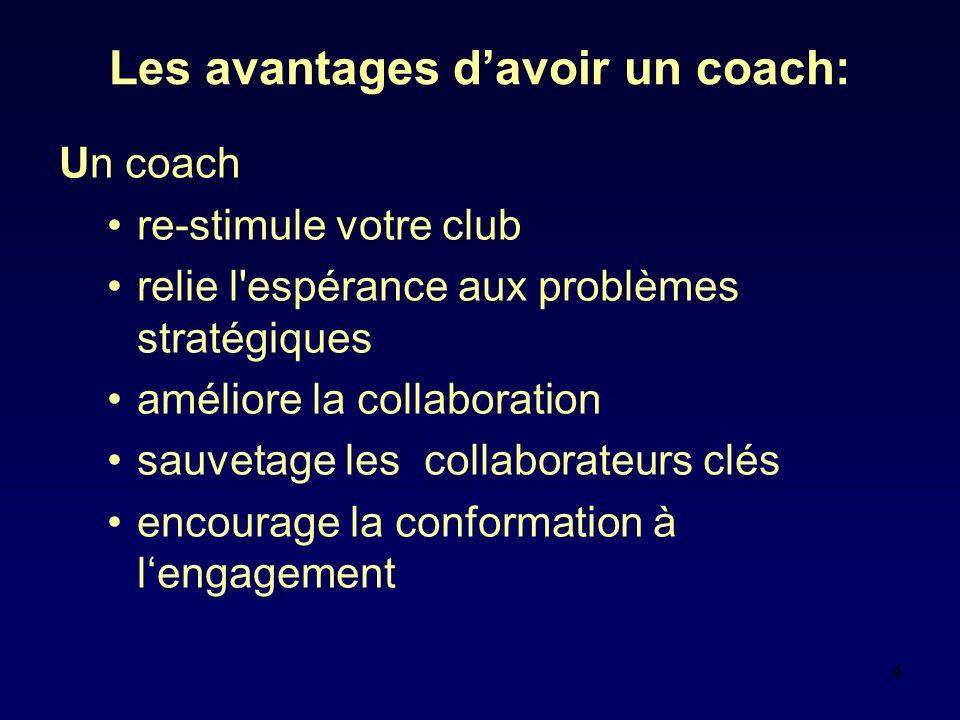 4 Les avantages davoir un coach: Un coach re-stimule votre club relie l espérance aux problèmes stratégiques améliore la collaboration sauvetage les collaborateurs clés encourage la conformation à lengagement