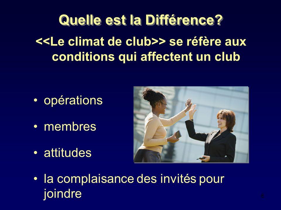 6 Quelle est la Différence? > se réfère aux conditions qui affectent un club opérations membres attitudes la complaisance des invités pour joindre