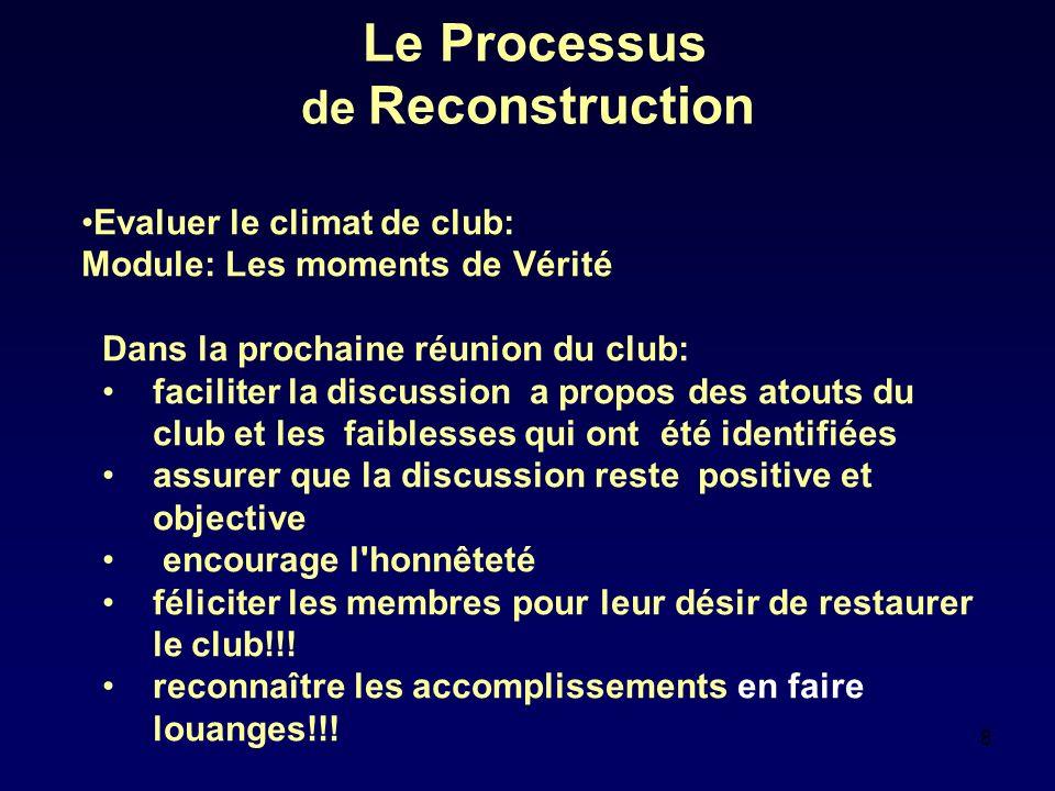 8 Le Processus de Reconstruction Evaluer le climat de club: Module: Les moments de Vérité Dans la prochaine réunion du club: faciliter la discussion a