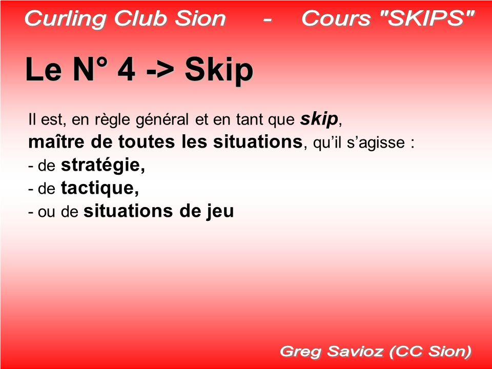Le N° 4 ->Skip Le N° 4 -> Skip Il est, en règle général et en tant que skip, maître de toutes les situations, quil sagisse : - de stratégie, - de tact