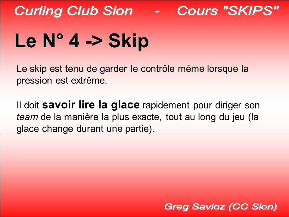 Le N° 4 ->Skip Le N° 4 -> Skip Le skip est tenu de garder le contrôle même lorsque la pression est extrême. Il doit savoir lire la glace rapidement po