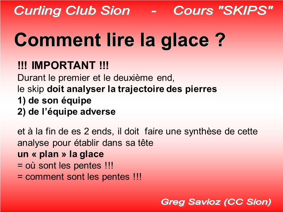 Comment lire la glace ? !!! IMPORTANT !!! Durant le premier et le deuxième end, le skip doit analyser la trajectoire des pierres 1) de son équipe 2) d