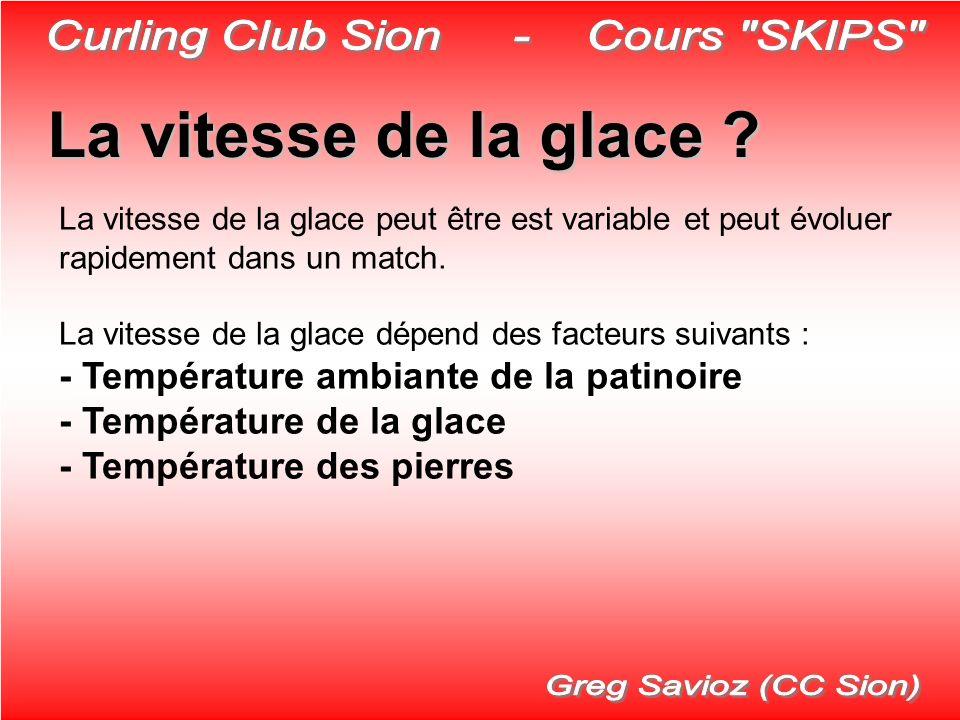 La vitesse de la glace ? La vitesse de la glace peut être est variable et peut évoluer rapidement dans un match. La vitesse de la glace dépend des fac