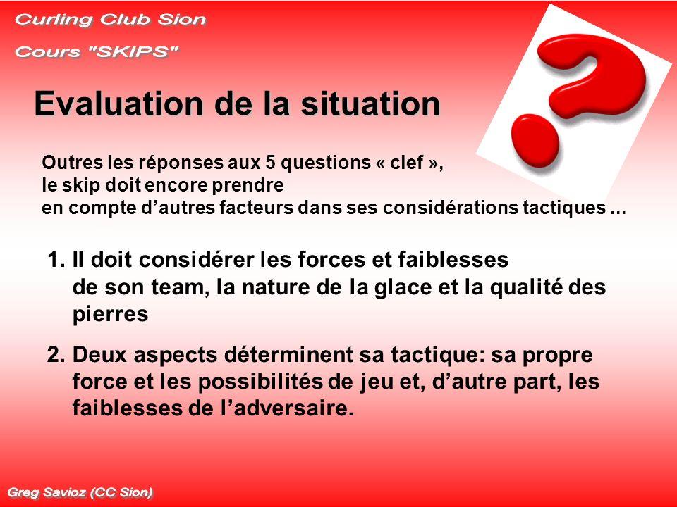 Evaluation de la situation 1.Il doit considérer les forces et faiblesses de son team, la nature de la glace et la qualité des pierres 2.Deux aspects d
