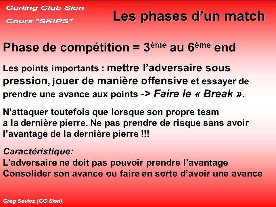 Les phases dun match Phase de compétition = 3 ème au 6 ème end Les points importants : mettre ladversaire sous pression, j ouer de manière offensive e