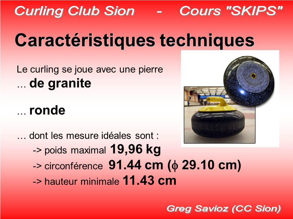 Caractéristiques techniques Le curling se joue avec une pierre … de granite … ronde … dont les mesure idéales sont : -> poids maximal 19,96 kg -> circ