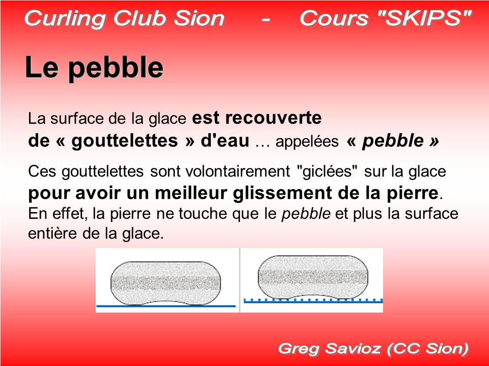 Le pebble La surface de la glace est recouverte de « gouttelettes » d'eau … appelées « pebble » Ces gouttelettes sont volontairement