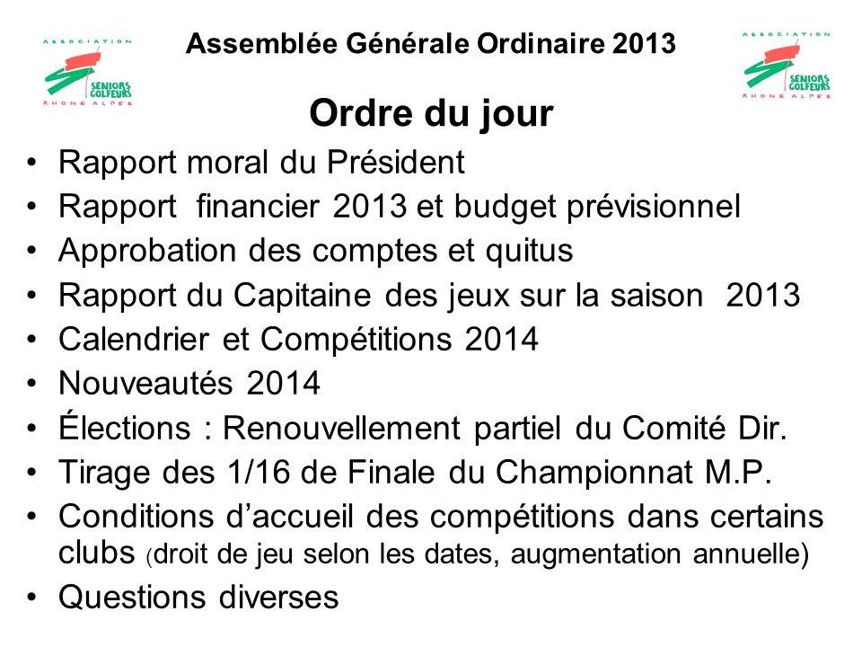 Assemblée Générale Ordinaire 2013 Ordre du jour Rapport moral du Président Rapport financier 2013 et budget prévisionnel Approbation des comptes et qu