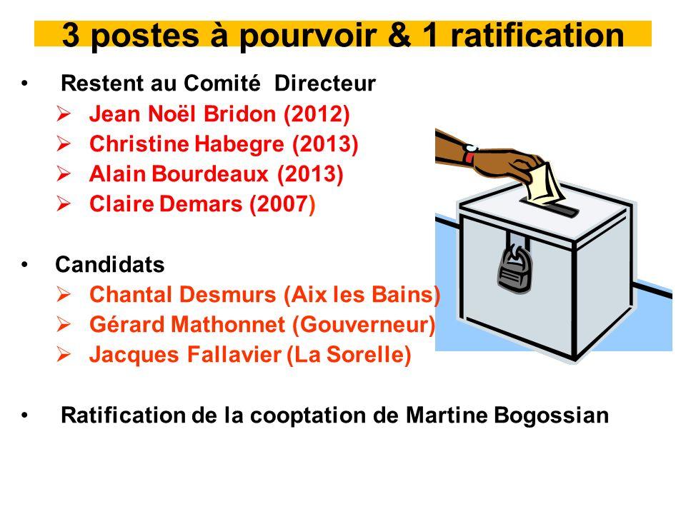 3 postes à pourvoir & 1 ratification Restent au Comité Directeur Jean Noël Bridon (2012) Christine Habegre (2013) Alain Bourdeaux (2013) Claire Demars