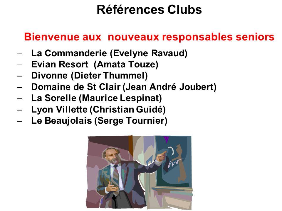 Références Clubs Bienvenue aux nouveaux responsables seniors –La Commanderie (Evelyne Ravaud) –Evian Resort (Amata Touze) –Divonne (Dieter Thummel) –D