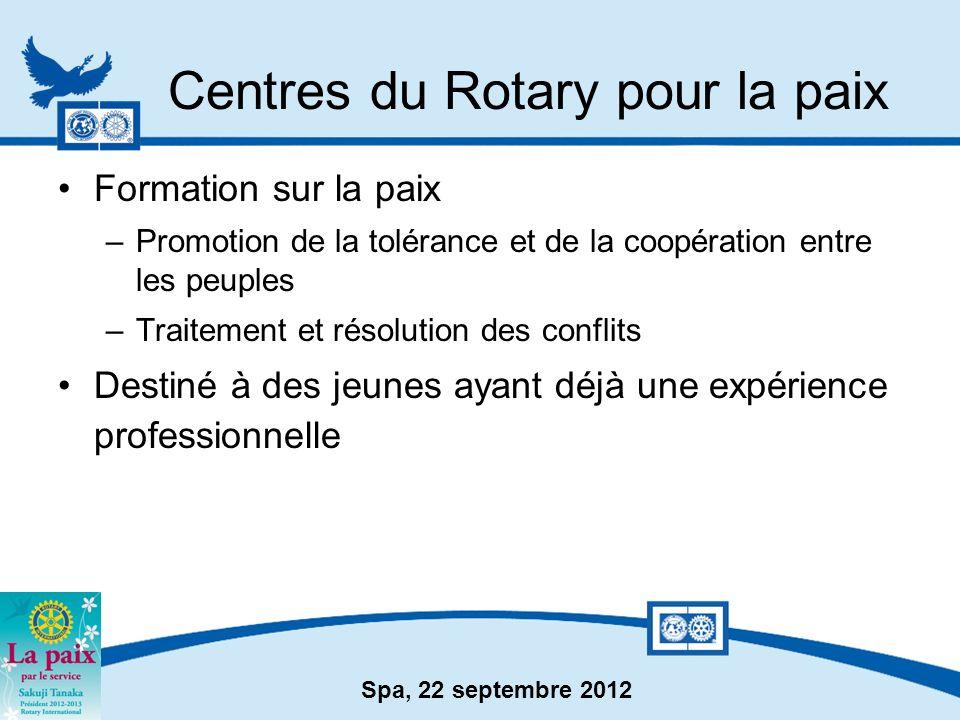 Spa, 22 septembre 2012 Centres du Rotary pour la paix Formation sur la paix –Promotion de la tolérance et de la coopération entre les peuples –Traitem
