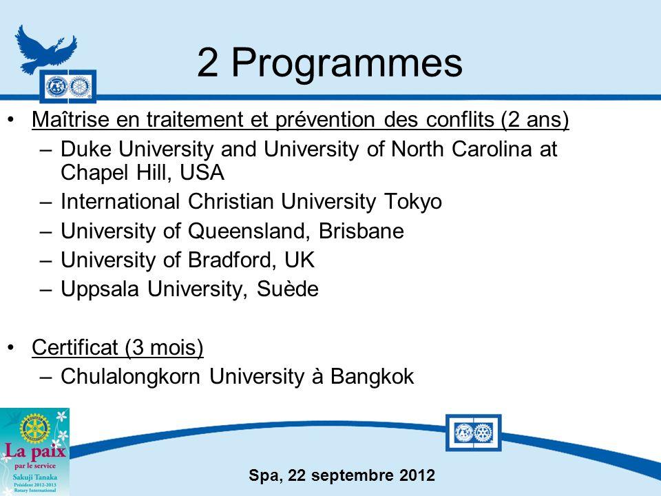 Spa, 22 septembre 2012 Maîtrise en traitement et prévention des conflits (2 ans) –Duke University and University of North Carolina at Chapel Hill, USA