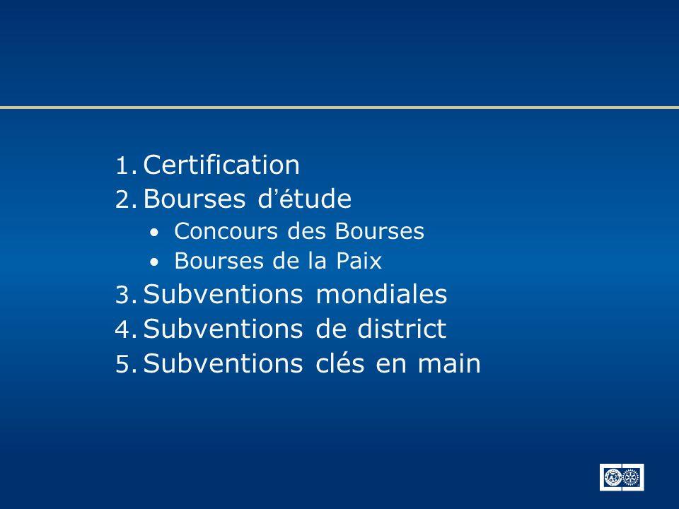1. Certification 2. Bourses d é tude Concours des Bourses Bourses de la Paix 3. Subventions mondiales 4. Subventions de district 5. Subventions clés e