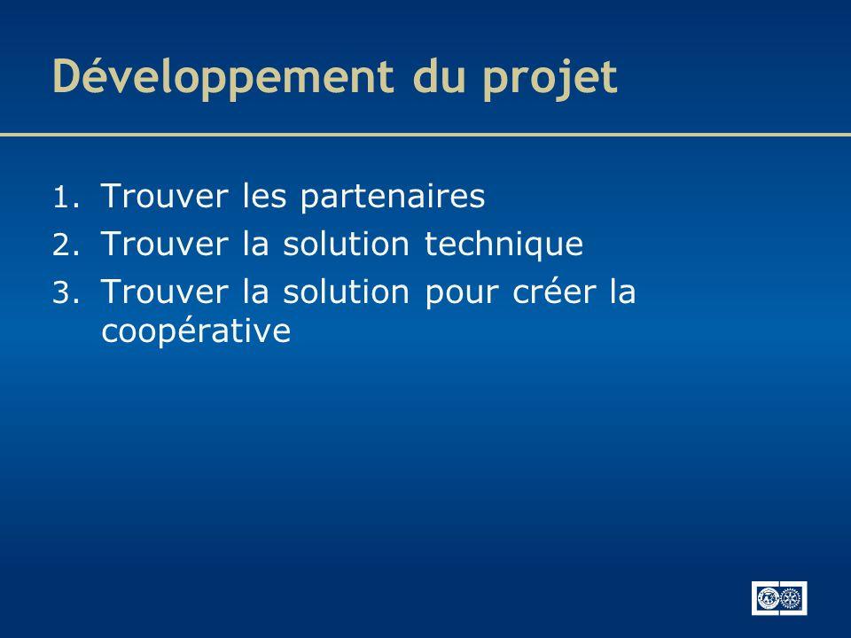 Développement du projet 1. Trouver les partenaires 2. Trouver la solution technique 3. Trouver la solution pour créer la coopérative