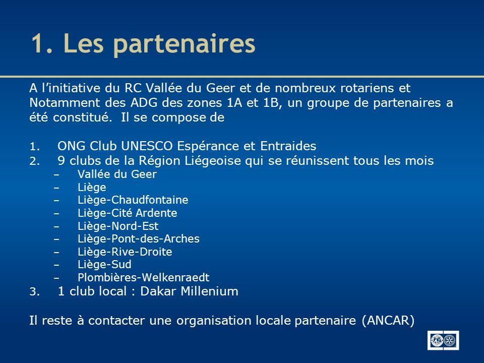 1. Les partenaires A linitiative du RC Vallée du Geer et de nombreux rotariens et Notamment des ADG des zones 1A et 1B, un groupe de partenaires a été