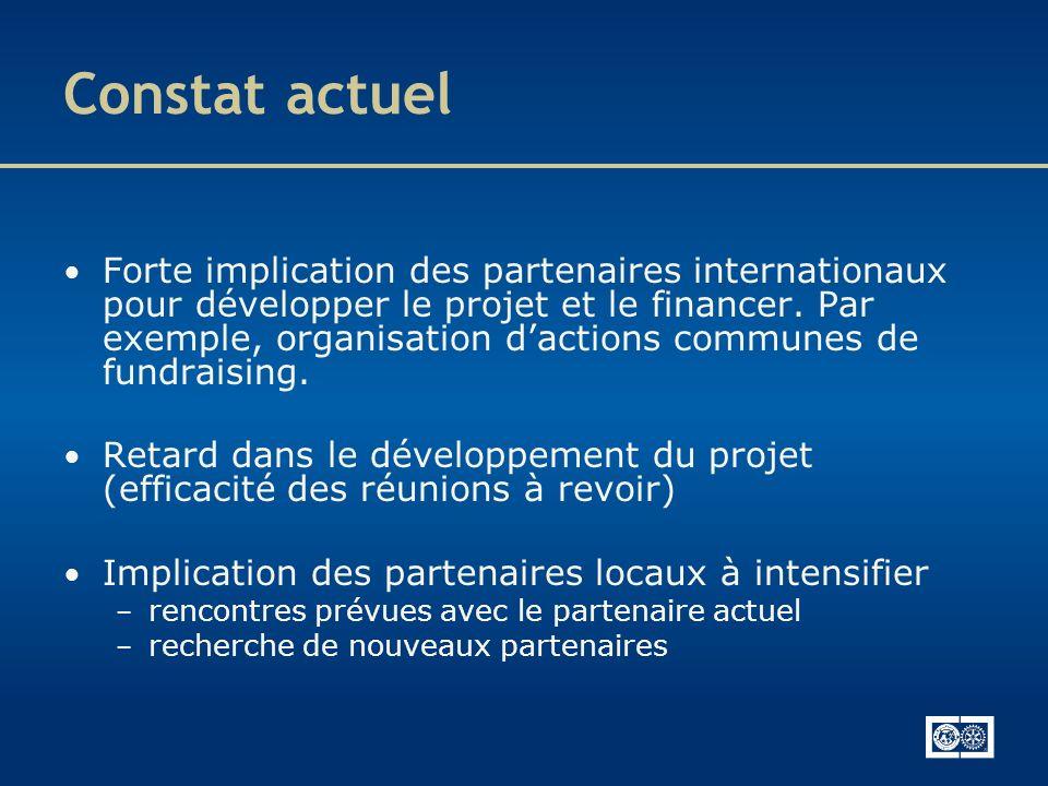 Constat actuel Forte implication des partenaires internationaux pour développer le projet et le financer. Par exemple, organisation dactions communes