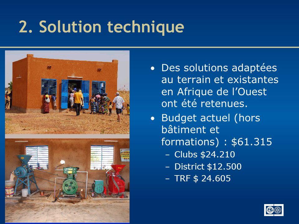 2. Solution technique Des solutions adaptées au terrain et existantes en Afrique de lOuest ont été retenues. Budget actuel (hors bâtiment et formation