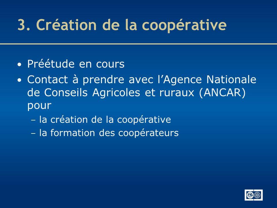 3. Création de la coopérative Préétude en cours Contact à prendre avec lAgence Nationale de Conseils Agricoles et ruraux (ANCAR) pour – la création de