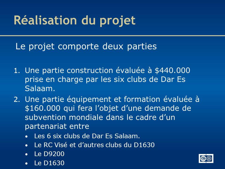 Réalisation du projet Le projet comporte deux parties 1. Une partie construction évaluée à $440.000 prise en charge par les six clubs de Dar Es Salaam