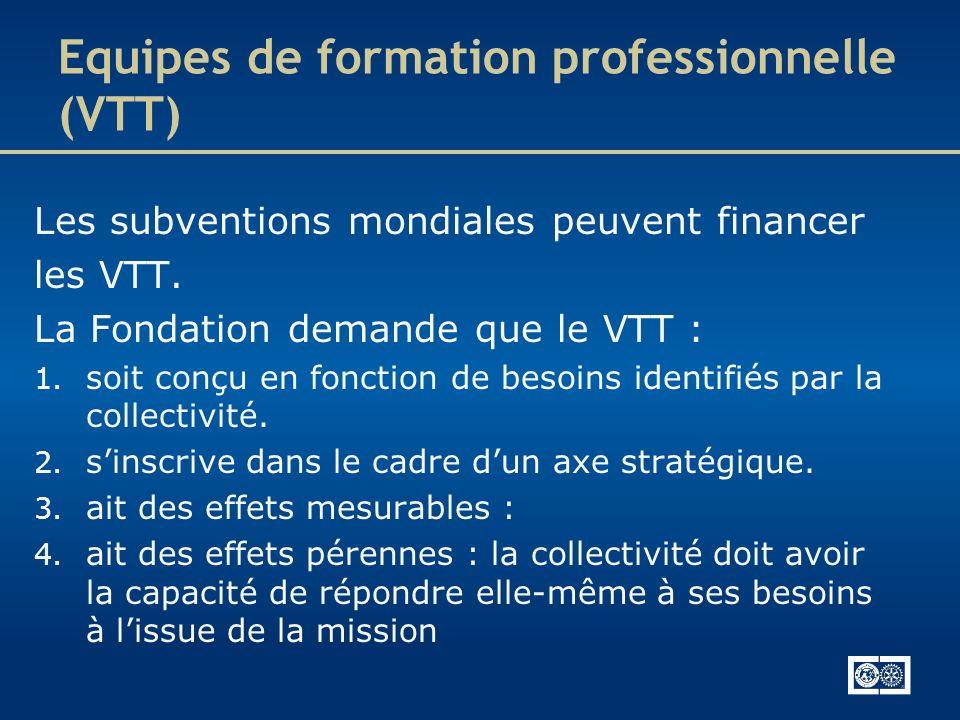 Equipes de formation professionnelle (VTT) Les subventions mondiales peuvent financer les VTT. La Fondation demande que le VTT : 1. soit conçu en fonc