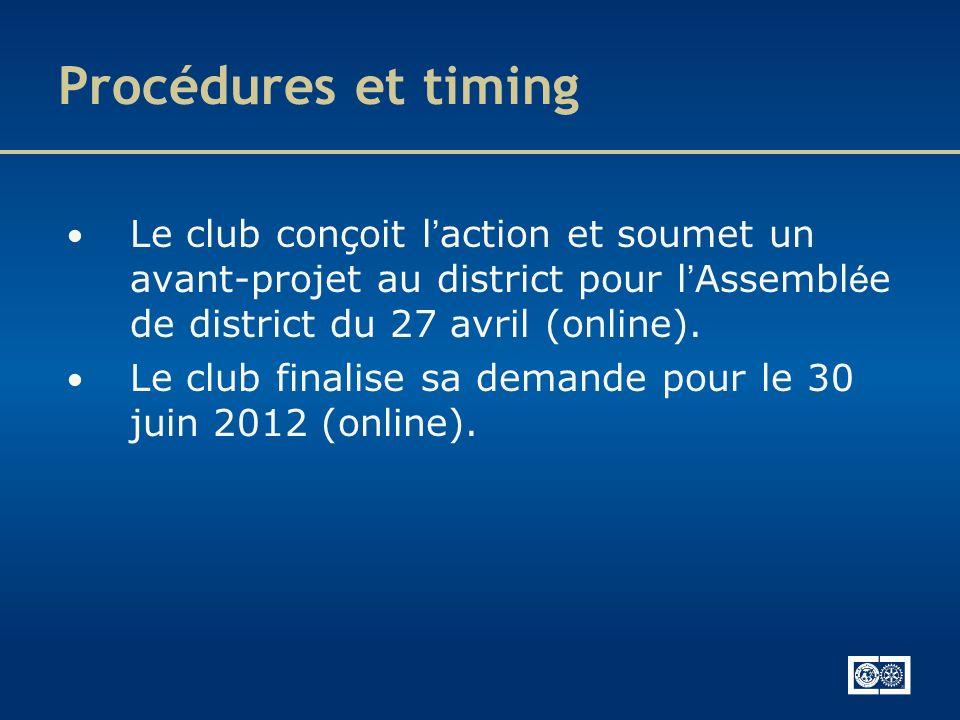 Le club conçoit l action et soumet un avant-projet au district pour l Assembl é e de district du 27 avril (online). Le club finalise sa demande pour l