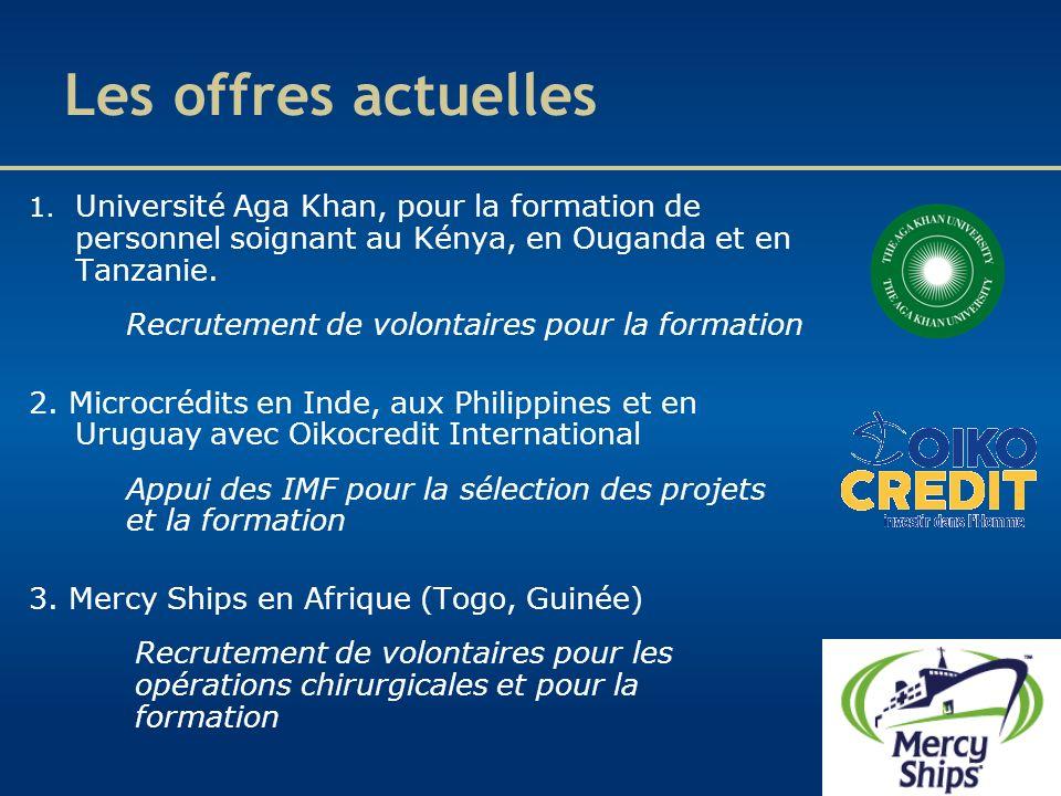 Les offres actuelles 1. Université Aga Khan, pour la formation de personnel soignant au Kénya, en Ouganda et en Tanzanie. Recrutement de volontaires p