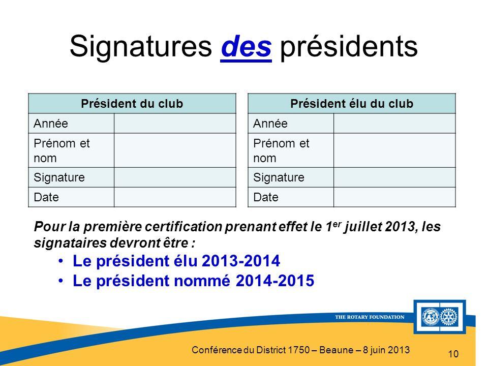 Conférence du District 1750 – Beaune – 8 juin 2013 Signatures des présidents 10 Président du club Année Prénom et nom Signature Date Président élu du