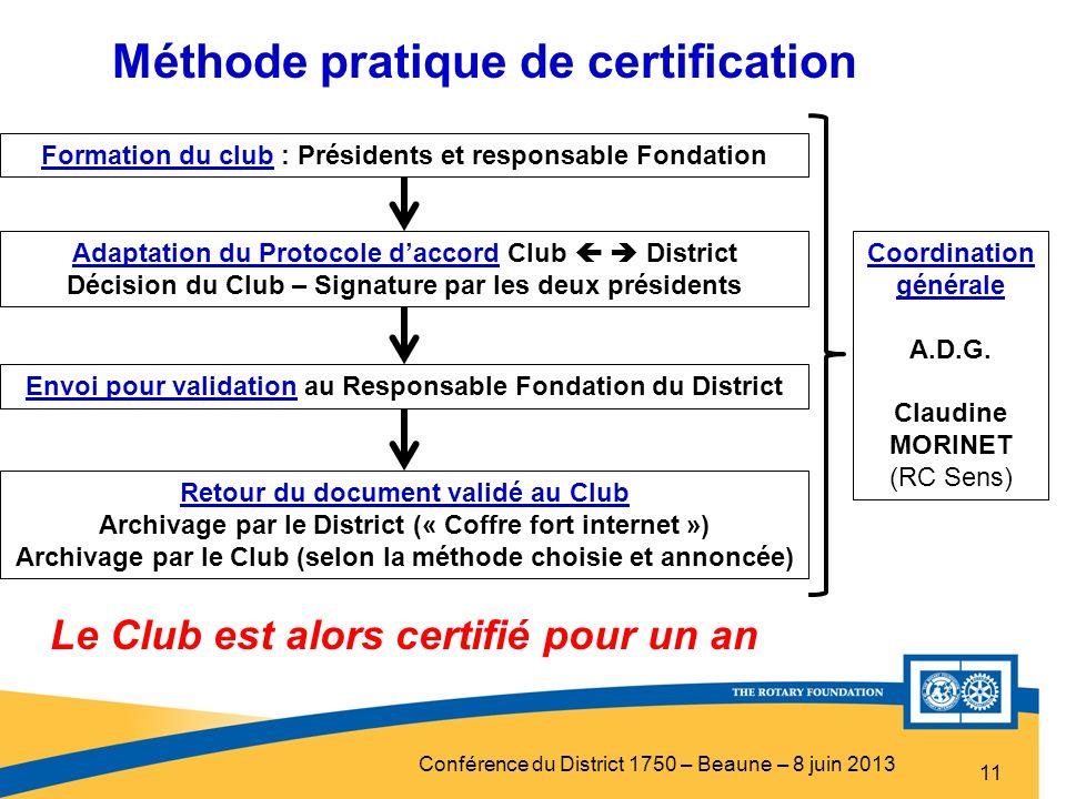 Conférence du District 1750 – Beaune – 8 juin 2013 11 Formation du club : Présidents et responsable Fondation Adaptation du Protocole daccord Club Dis