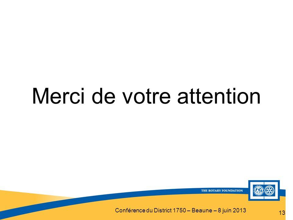 Conférence du District 1750 – Beaune – 8 juin 2013 Merci de votre attention 13