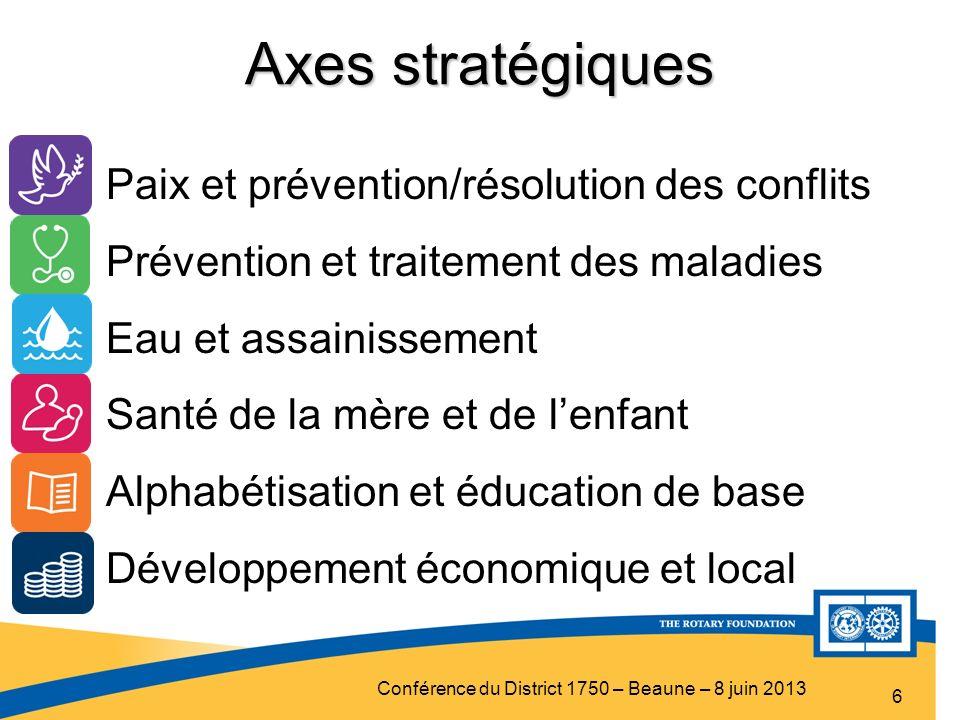 Conférence du District 1750 – Beaune – 8 juin 2013 Axes stratégiques 6 Paix et prévention/résolution des conflits Prévention et traitement des maladie