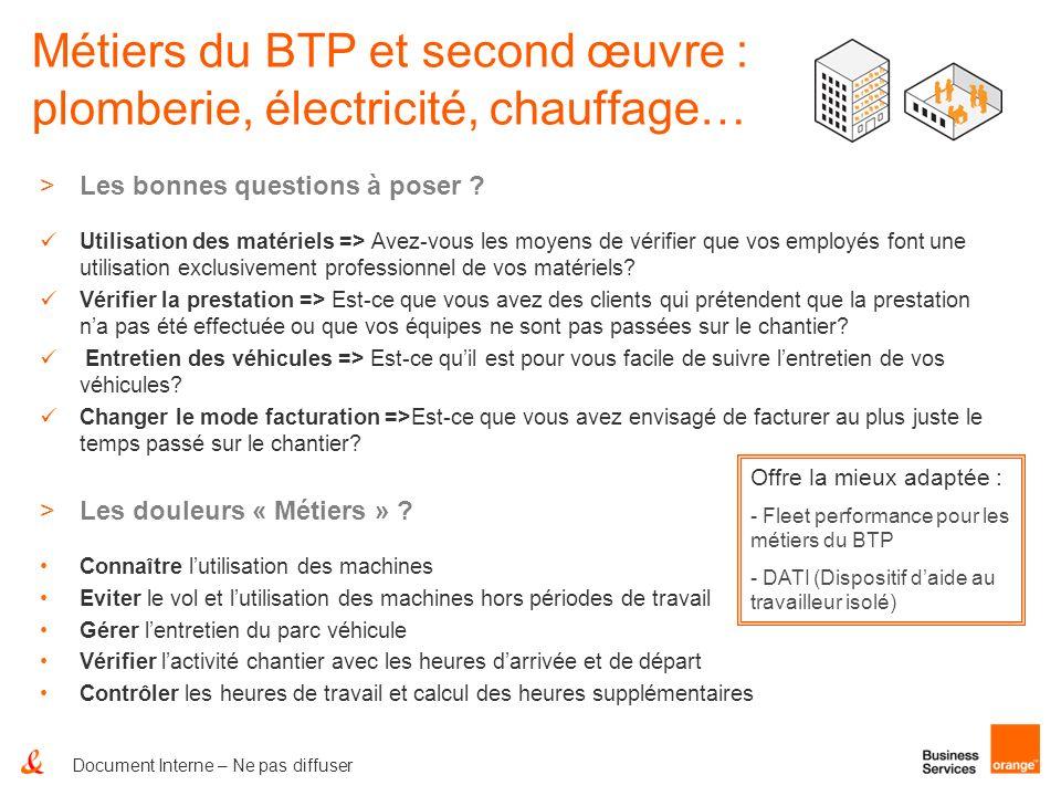 Document Interne – Ne pas diffuser Métiers du BTP et second œuvre : plomberie, électricité, chauffage… >Les bonnes questions à poser ? Utilisation des