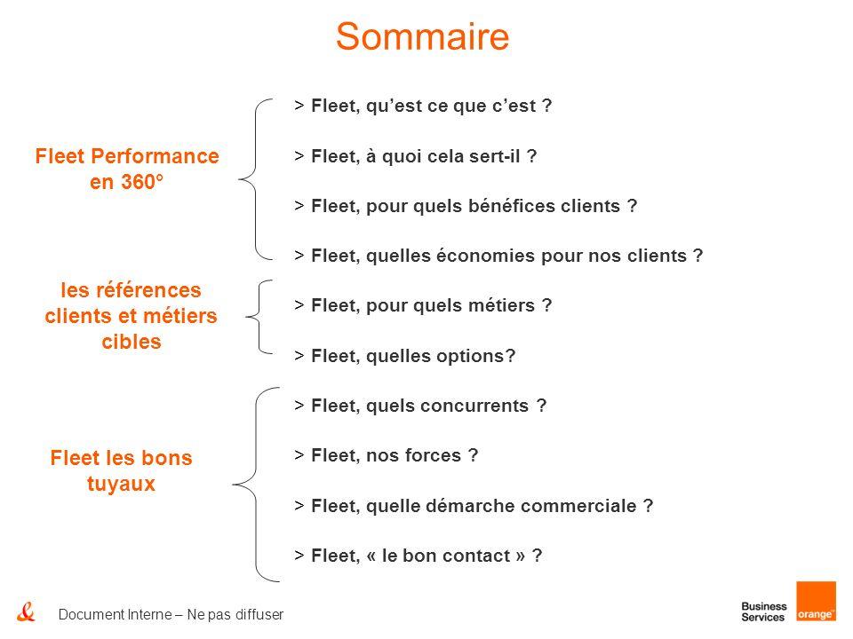 Document Interne – Ne pas diffuser Sommaire > Fleet, quest ce que cest ? > Fleet, à quoi cela sert-il ? > Fleet, pour quels bénéfices clients ? > Flee
