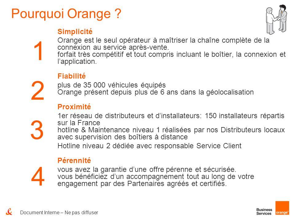 Document Interne – Ne pas diffuser 1 2 3 Pourquoi Orange ? Simplicité Orange est le seul opérateur à maîtriser la chaîne complète de la connexion au s