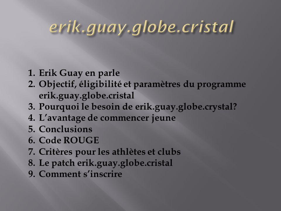 1.Erik Guay en parle 2.Objectif, éligibilité et paramètres du programme erik.guay.globe.cristal 3.Pourquoi le besoin de erik.guay.globe.crystal.