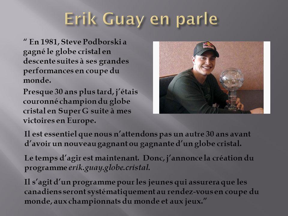 En 1981, Steve Podborski a gagné le globe cristal en descente suites à ses grandes performances en coupe du monde.