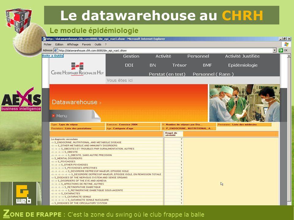 Le datawarehouse au CHRH Le module épidémiologie Z ONE DE FRAPPE : C est la zone du swing où le club frappe la balle