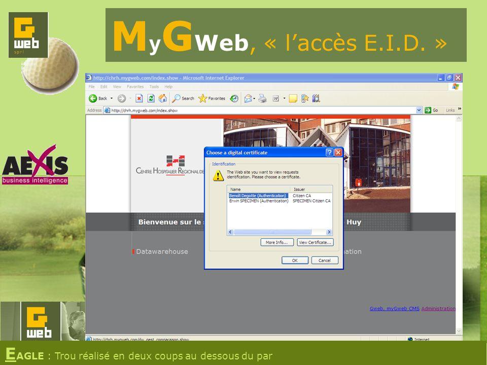 M y G Web, « laccès E.I.D. » E AGLE : Trou réalisé en deux coups au dessous du par