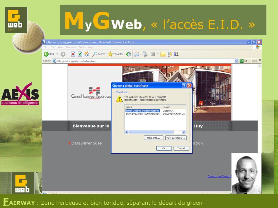 M y G Web, « laccès E.I.D. » F AIRWAY : Zone herbeuse et bien tondue, séparant le départ du green