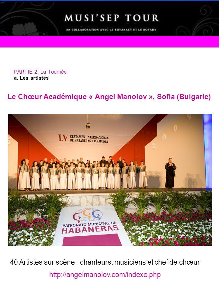 PARTIE 2: La Tournée a. Les artistes Le Chœur Académique « Angel Manolov », Sofia (Bulgarie) 40 Artistes sur scène : chanteurs, musiciens et chef de c