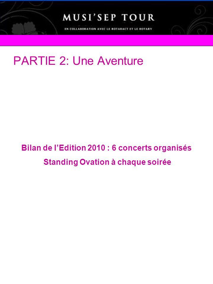 PARTIE 2: Une Aventure Bilan de lEdition 2010 : 6 concerts organisés Standing Ovation à chaque soirée